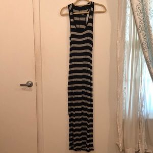 Racerback black and grey stripe maxi dress